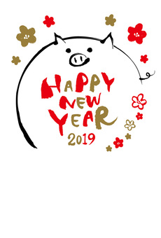 Swine New Year card template