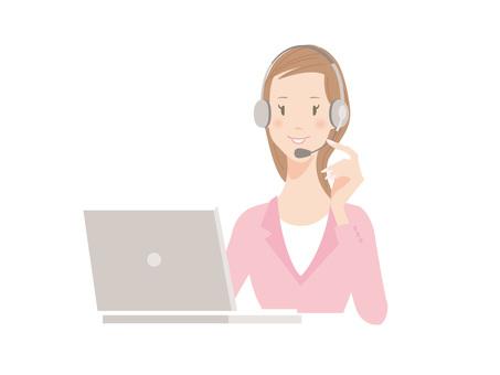 Women _ Telephone operator _ Personal computer