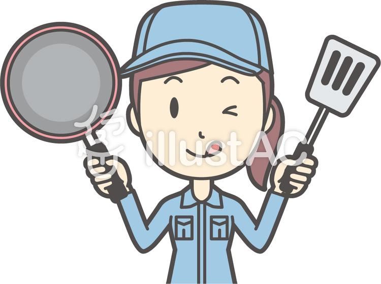 作業員女性ブルー-108-バストのイラスト