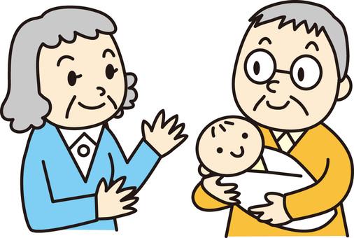 Elder couple and babies
