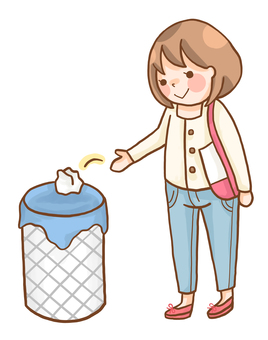 Woman throwing away trash