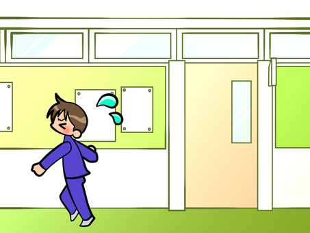 Student running in the hallway 20171120-1