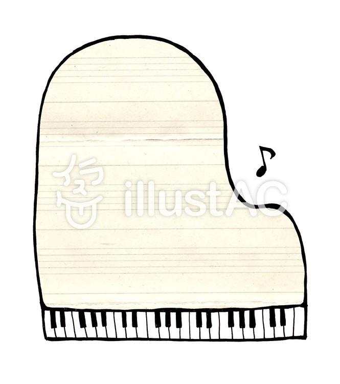 ピアノの枠_線なし_五線のイラスト