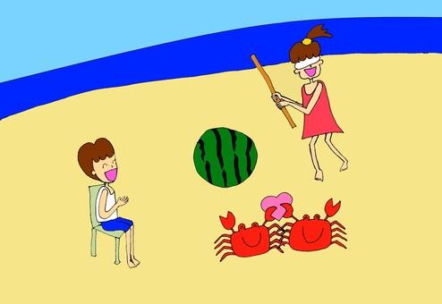 Watermelon splitting in the summer seaside, love love crab