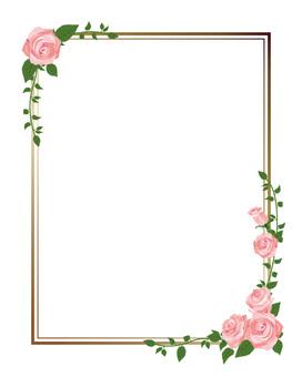 Pink rose diagonal frame · decorative frame length 01