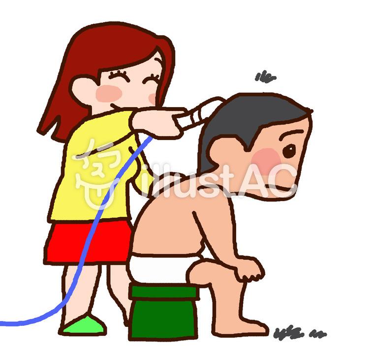 家で散髪をするお母さんイラスト No 1421202無料イラストなら