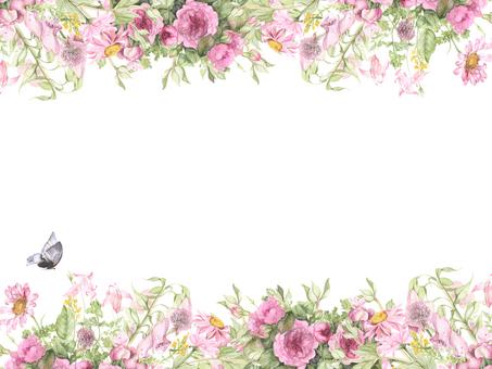 꽃 테두리 210- 핑크 꽃 꽃 테두리 프레임