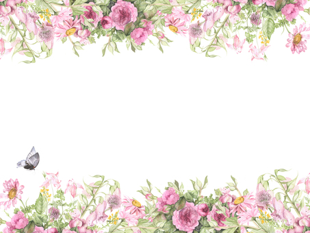 Flower frame 210 - Flower frame frame of pink flowers