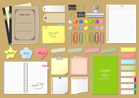 Set of notes sticky notes, paper material and stationery