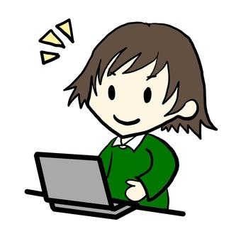 A woman who uses a computer