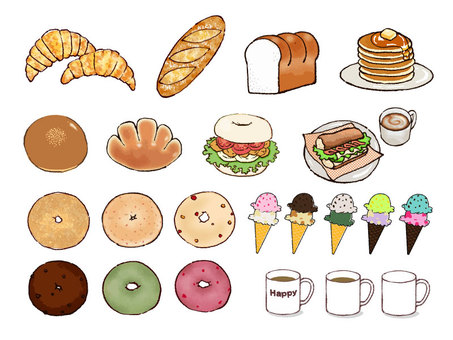 Bread, cafe materials
