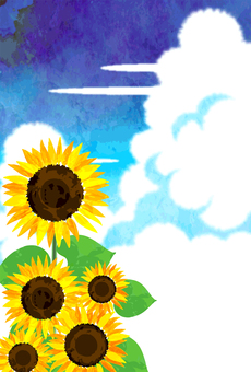 Watercolor infused clouds and sunflower post card