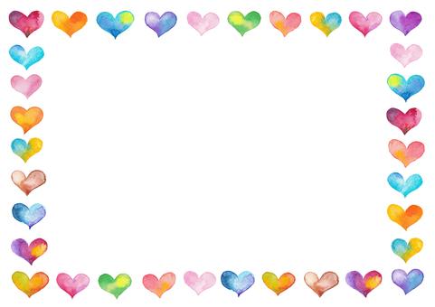Watercolor heart frame-B1