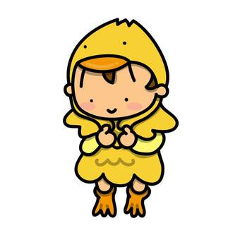 A boy wearing a chick costume