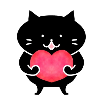 Black cat with heart 3