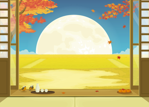 Autumn leaves and moon night