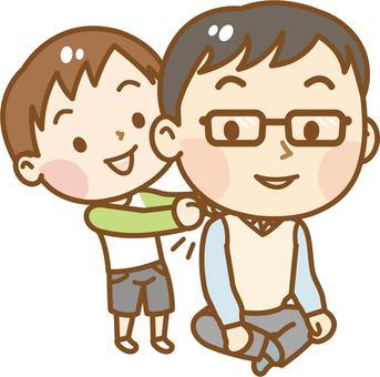 Tattoo shoulder daddy and a boy