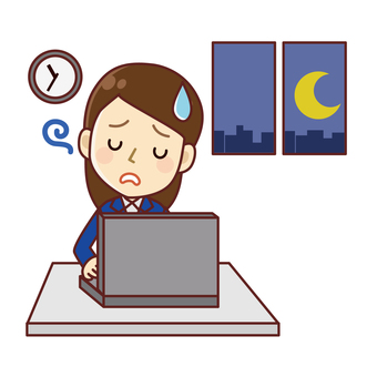 Office worker female overtime work front