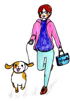 개를 산책