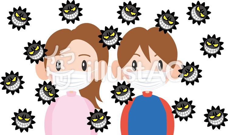 ウイルス マスク 男子 女子イラスト No 1007148無料イラストなら