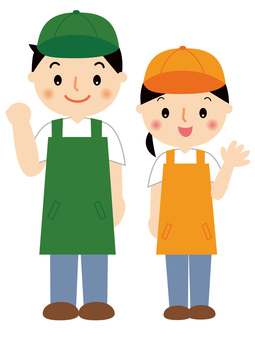 Apron clerk man and woman full length illustration