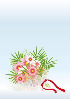 Cosmos & palm leaves bouquets 6