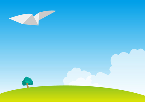 Paper airplane and sky and plaza landscape material
