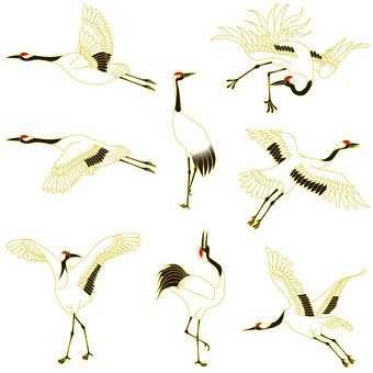 Crane figure 8-piece set