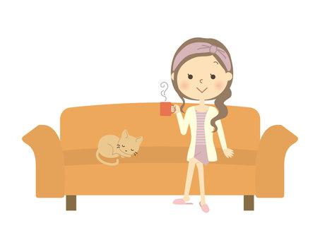 소파에 앉아 여자 4