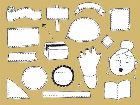 Hand-drawn line illustration material collection