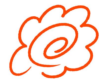 手書きクレヨンの赤い花丸(透過)