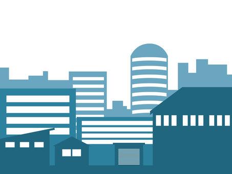 Cityscape Silhouette Blue Green