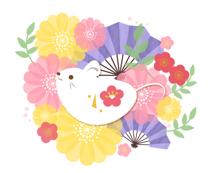 Japanese mouse, fan and flower