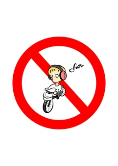 Prohibited earphone while riding a bicycle