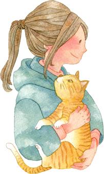 猫を抱く女の子 上半身 横顔