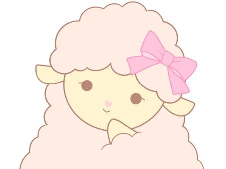 ピンクのひつじちゃん(微笑みA)