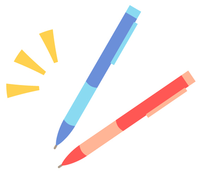 Red pen and blue pen (no wire