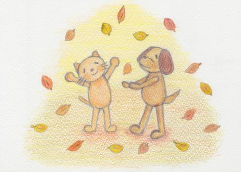 In the fallen leaves