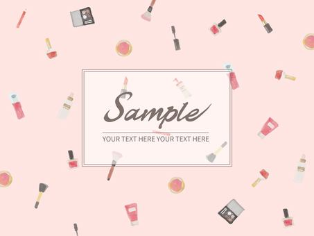 Watercolor cosmetics illustration pink background
