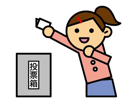投票箱と女性
