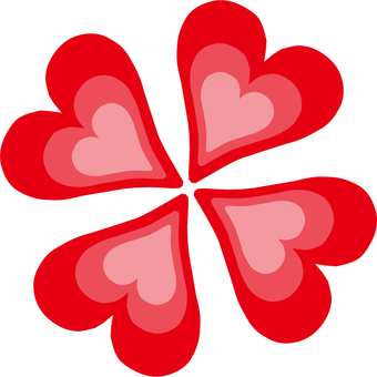 Clover made of red heart