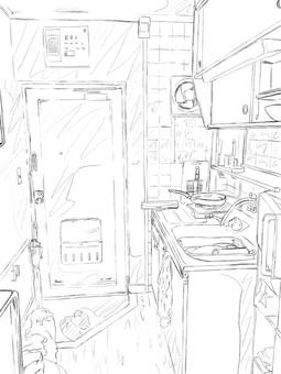 Kitchen & entrance (line drawing)