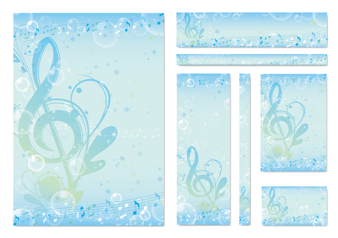 Aqua-colored elegant music frame set