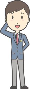 High school student blazer male -020 whole body