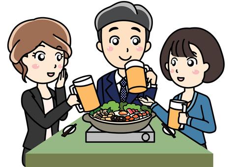 男女3人飲み会宴会ディナー