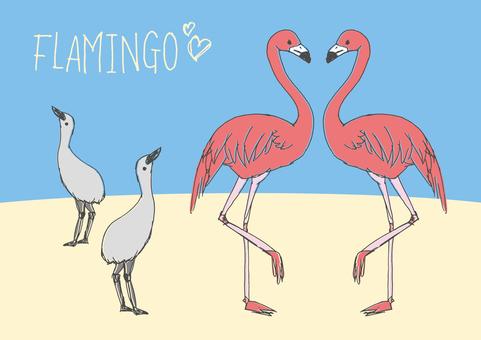 Loose flamingo hand-painted material