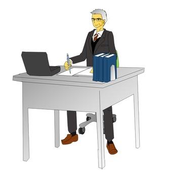 An elderly man during desk work