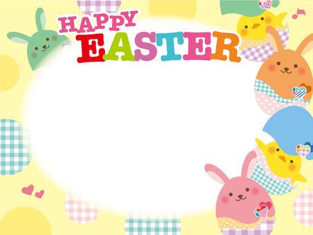 Easter frame with 02 characters