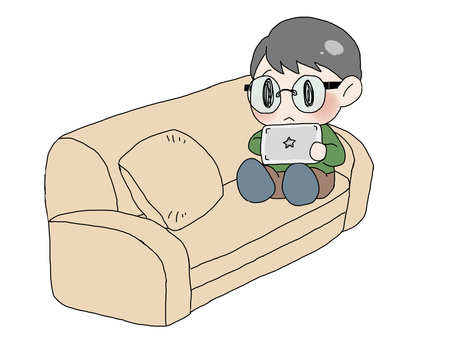 Boy sitting on the sofa