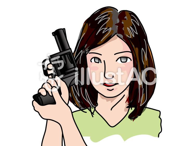 拳銃を構える女性 1 イラスト No 1323802 無料イラストなら